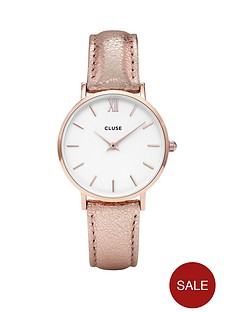 cluse-cluse-minuit-metallic-white-dial-rose-coloured-strap-ladies-watch