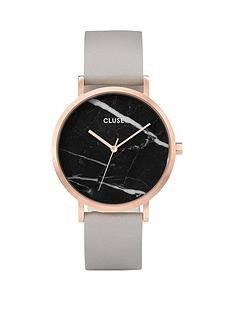 cluse-cluse-la-roche-black-dial-grey-strap-ladies-watch