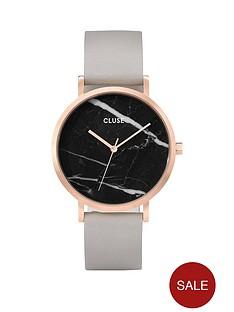 cluse-cluse-la-roche-black-dial-grey-strap-ladies-watch