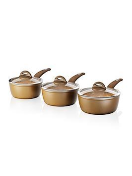 Product photograph showing Tower Cerastone 3-piece Saucepan Set