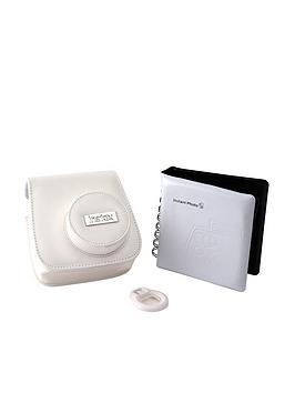 Fuji Fuji Instax Mini 8 Acc Kit Case Mini Photo Album Close Up Lens Mirror  White
