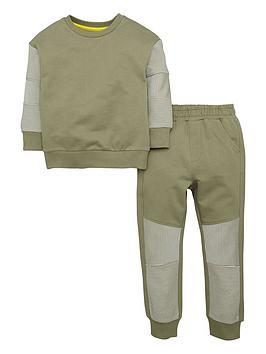 mini-v-by-very-boys-khaki-horizontal-ribbed-sweat-top-and-joggers-set-2-piece