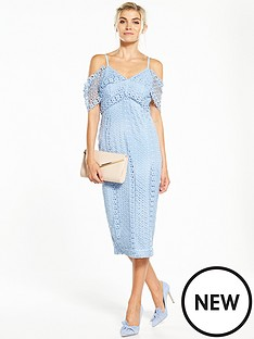 v-by-very-lace-cold-shoulder-frill-hem-dress
