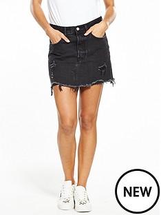 levis-deconstructed-denim-mini-skirt