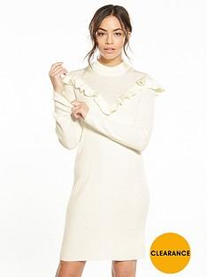vila-helt-knit-frill-dress