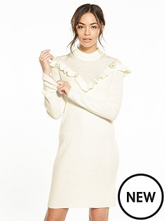 vila-helt-knit-frill-dress