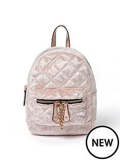 river-island-quilted-velvet-backpack