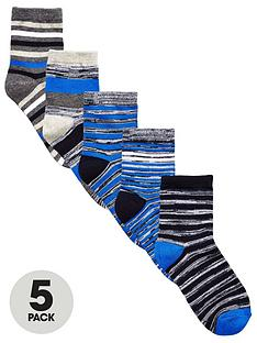 v-by-very-boys-blue-marl-striped-socks-5-pack