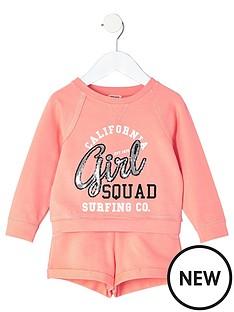 river-island-mini-girls-coral-print-sweatshirt-and-shorts-set