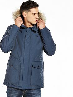 fred-perry-quilted-faux-fur-trim-parka