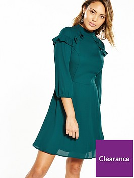 v-by-very-high-neck-rufle-fit-and-flare-dress