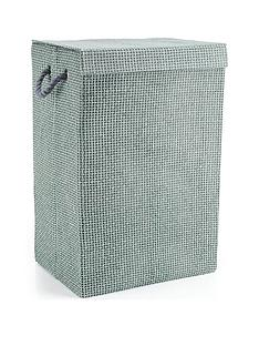 minky-grey-check-canvas-laundry-hamper