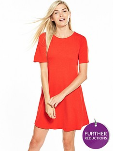 v-by-very-jersey-short-sleeve-swing-dress-flame-red
