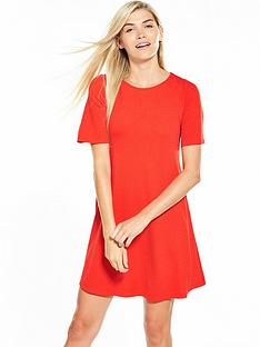 v-by-very-short-sleeve-swing-dress-flame-red