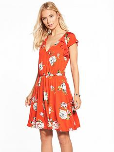 v-by-very-chiffon-ruffle-sleeve-tea-dress