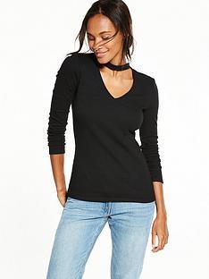 v-by-very-choker-rib-long-sleeve-top-black