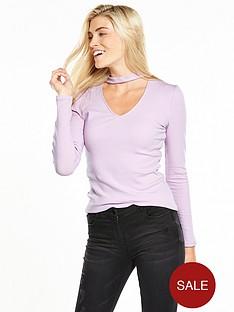 v-by-very-choker-rib-long-sleeve-top-lilac