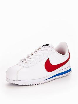 premium selection ba341 107af Nike Cortez Leather Junior Trainers - WhiteRedBlue