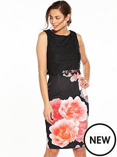 wallis-lace-top-and-floralnbspscuba-dress
