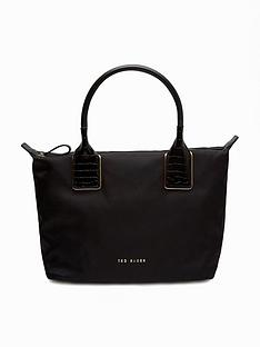 ted-baker-exotic-handle-nylon-tote-bag-black