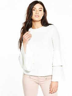v-by-very-crepe-double-frill-sleeve-top-ivory
