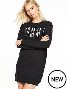 hilfiger-denim-long-sleeved-knit-dress-black