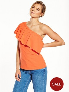 warehouse-one-shoulder-crepe-frill-top