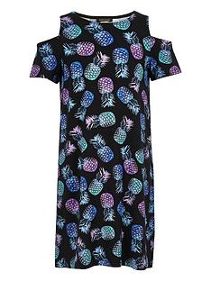 river-island-girls-pineapple-print-colld-shoulder-t-shirt-dress