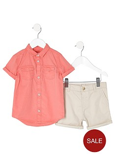 river-island-mini-boys-pink-shirt-and-chino-shorts-outfit