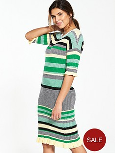 v-by-very-crew-neck-stripe-frill-cuff-midi-dress-green-stripe