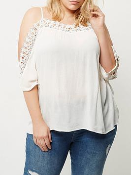 Ri Plus White Crochet Cold Shoulder Top