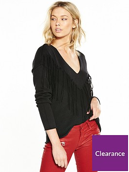 replay-fringed-jumper-black