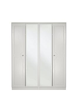 Swift Columbia Ready Assembled 4 Door Mirrored Wardrobe