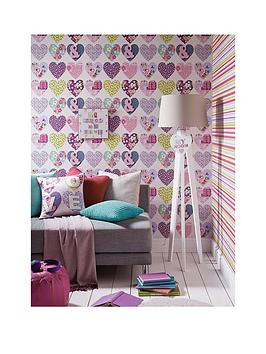 Arthouse Patchwork Hearts Wallpaper
