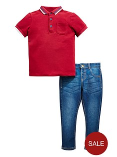 mini-v-by-very-boys-polo-amp-washed-jean-set
