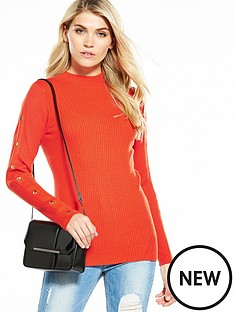 v-by-very-snap-popper-sleeve-rib-turtleneck-jumper