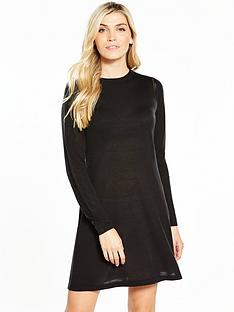 v-by-very-crochet-stitch-detail-knitted-swing-dress-black