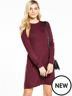 v-by-very-crochet-stitch-detail-knitted-swing-dress-rich-merlot