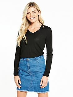 v-by-very-cut-out-v-neck-jumper-black