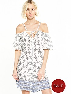 glamorous-scarf-print-off-shoulder-dress
