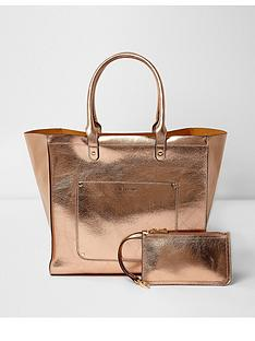 river-island-river-island-metallic-winged-tote-with-purse