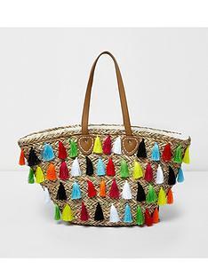 river-island-river-island-multi-tassle-straw-beach-bag