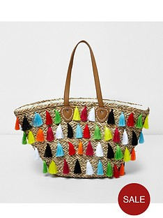 river-island-river-island-multi-tassle-straw-beach-bag