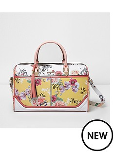 river-island-river-island-yellow-printed-panel-holdall