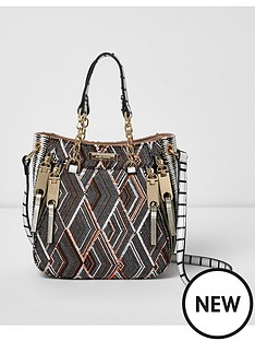 river-island-river-island-weave-print-small-structured-bag