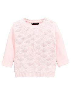 mini-v-by-very-baby-girls-cable-knit-amp-sweat-mix-jumper