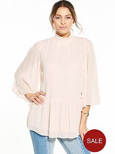 vila-dagmanbspthree-quarter-sleeve-top-silver-peony