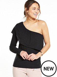 vila-one-shoulder-frill-top-black