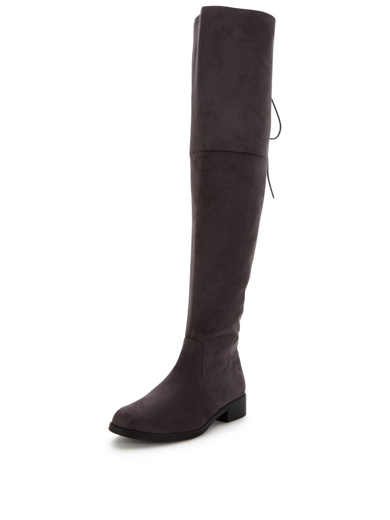 V by Very Lacey Tie Back Over The Knee Boot - Grey