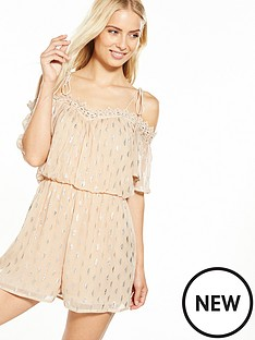 miss-selfridge-lurex-playsuit-nudenbsp